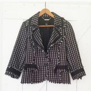 WHBM | textured black and white plaid blazer